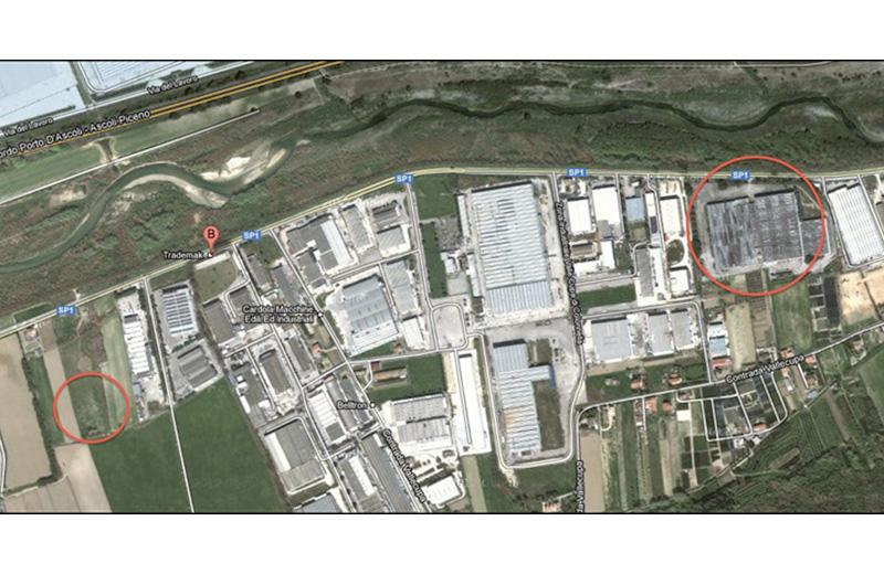 I due siti di Controguerra e Colonnella dove sono previste le centrali a biomasse