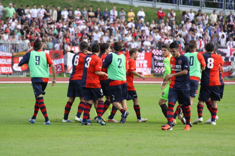 Maceratese - Samb 0-3, esultanza secondo gol (Bianchini)