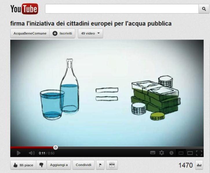 Iniziativa dei citadini Europei per l'acqua pubblica - immagine presa dal video