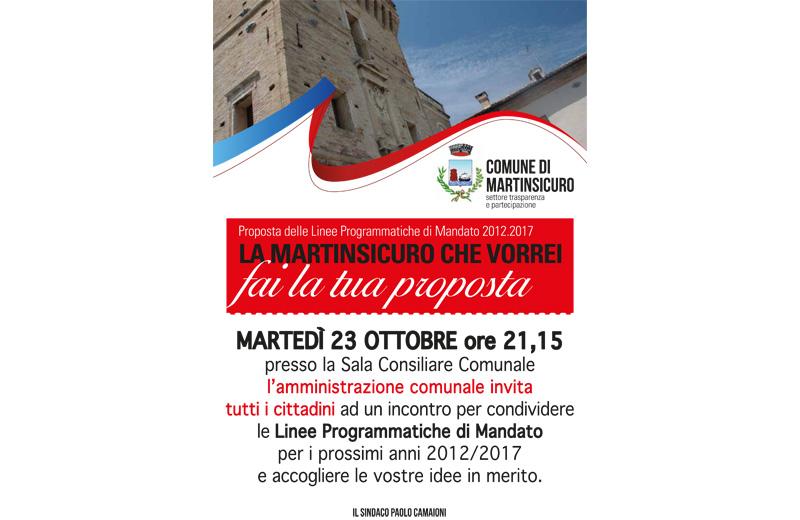 Martinsicuro, presentazione delle linee programmatiche di mandato 2012/1017