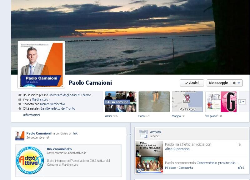 Il profilo del sindaco Camaioni su Facebook