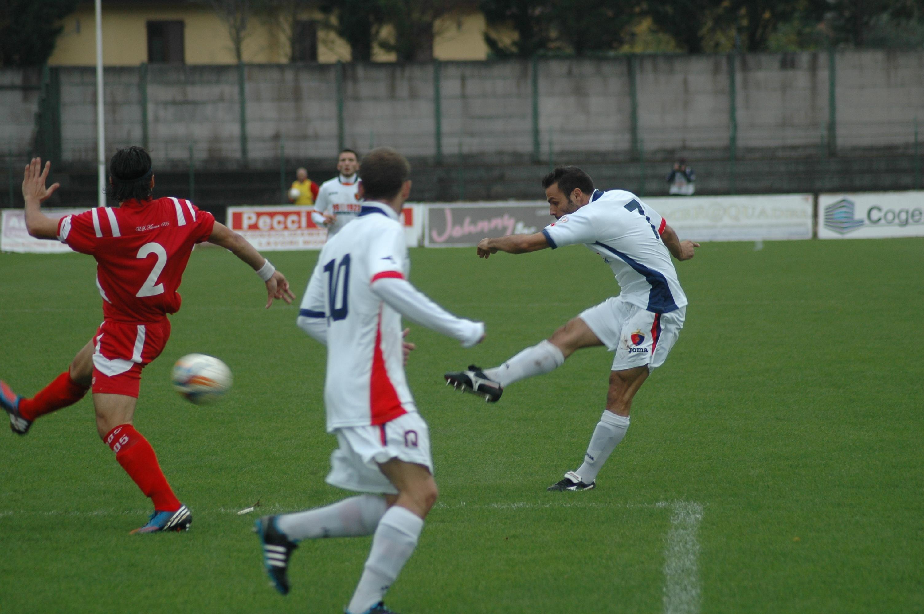 Samb-Ancona, Napolano, il tiro del primo gol (GIAMMUSSO)