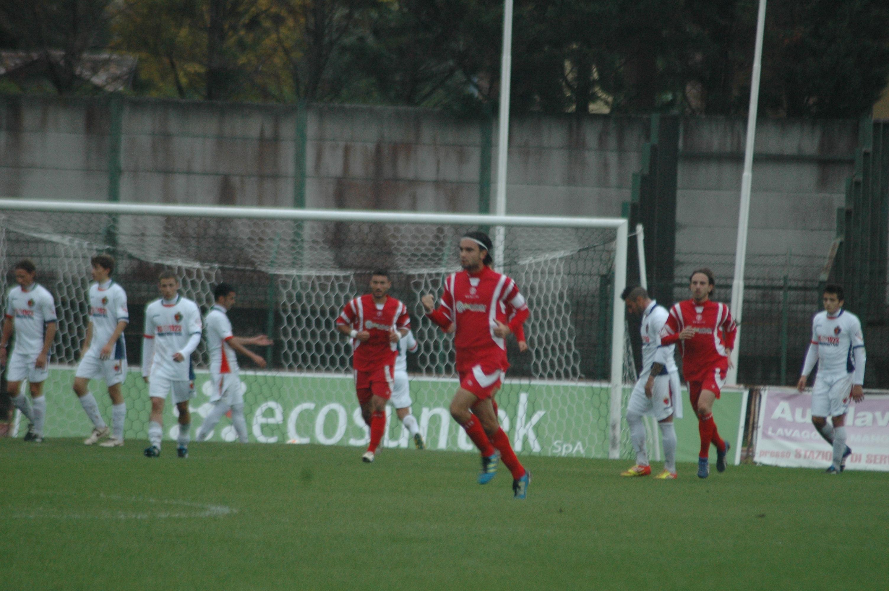 Samb-Ancona, Ruffini esulta dopo l'1-1 (GIAMMUSSO)