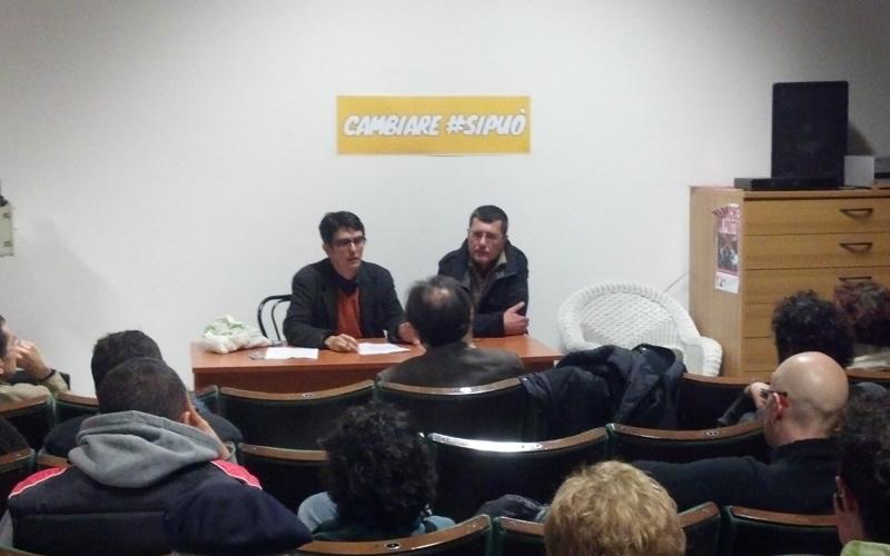 Francesco Leone e Andrea Ricci durante l'incontro di Cambiare si Può