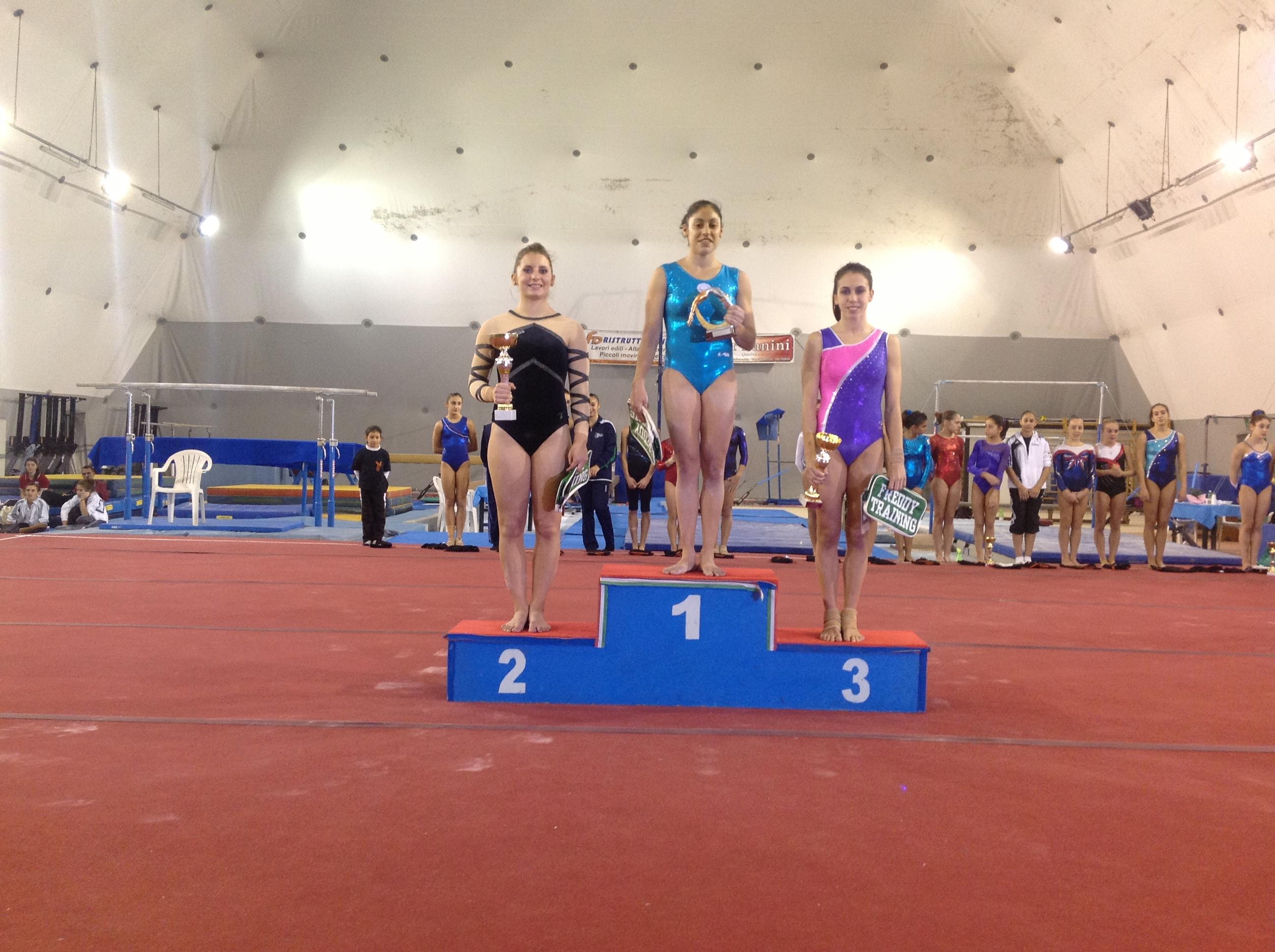Le ginnaste sul podio