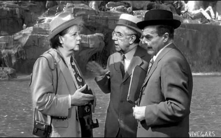 Merkel, Monti e Bersani in versione Totò Truffa (Vinegars, da Dagospia)