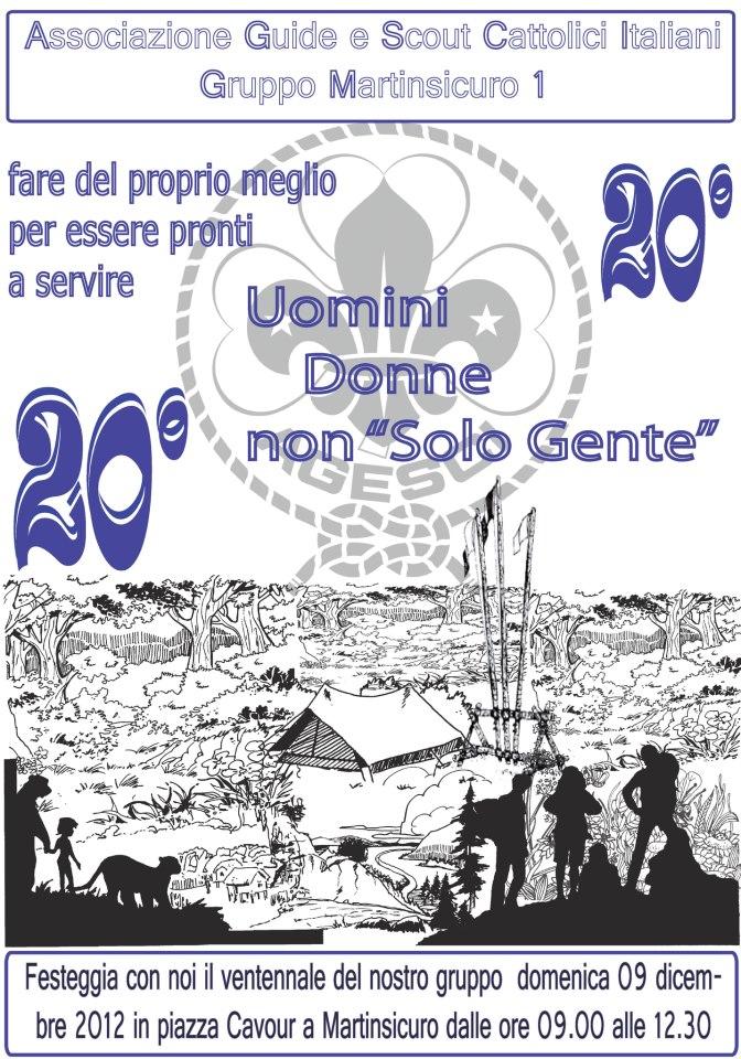 la locandina della festa del ventennale del gruppo scout di Martnisicuro