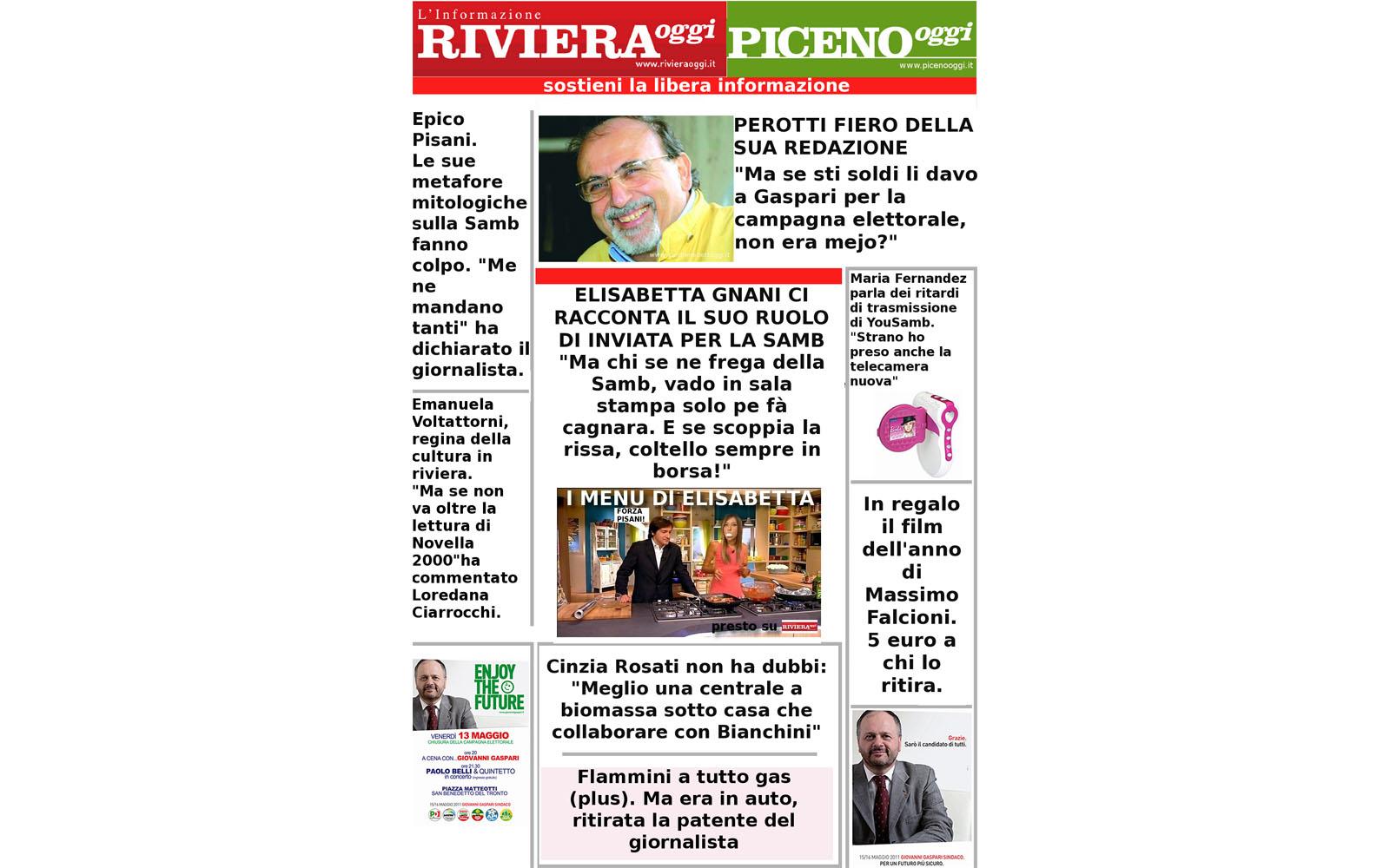 Due risate con una inedita prima pagina di Riviera Oggi e Piceno Oggi
