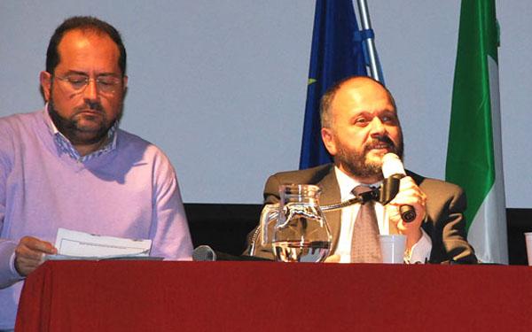 Germano Polidori e Giovanni Gaspari al Concordia durante la presentazione della Mega Variante nel 2010
