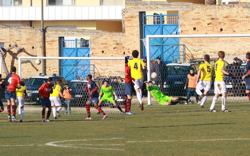 I due gol su punizione di Ferraresi della Renato Curi, a sinistra l'1-0, a destra il 2-0, praticamente identici (bianchini)