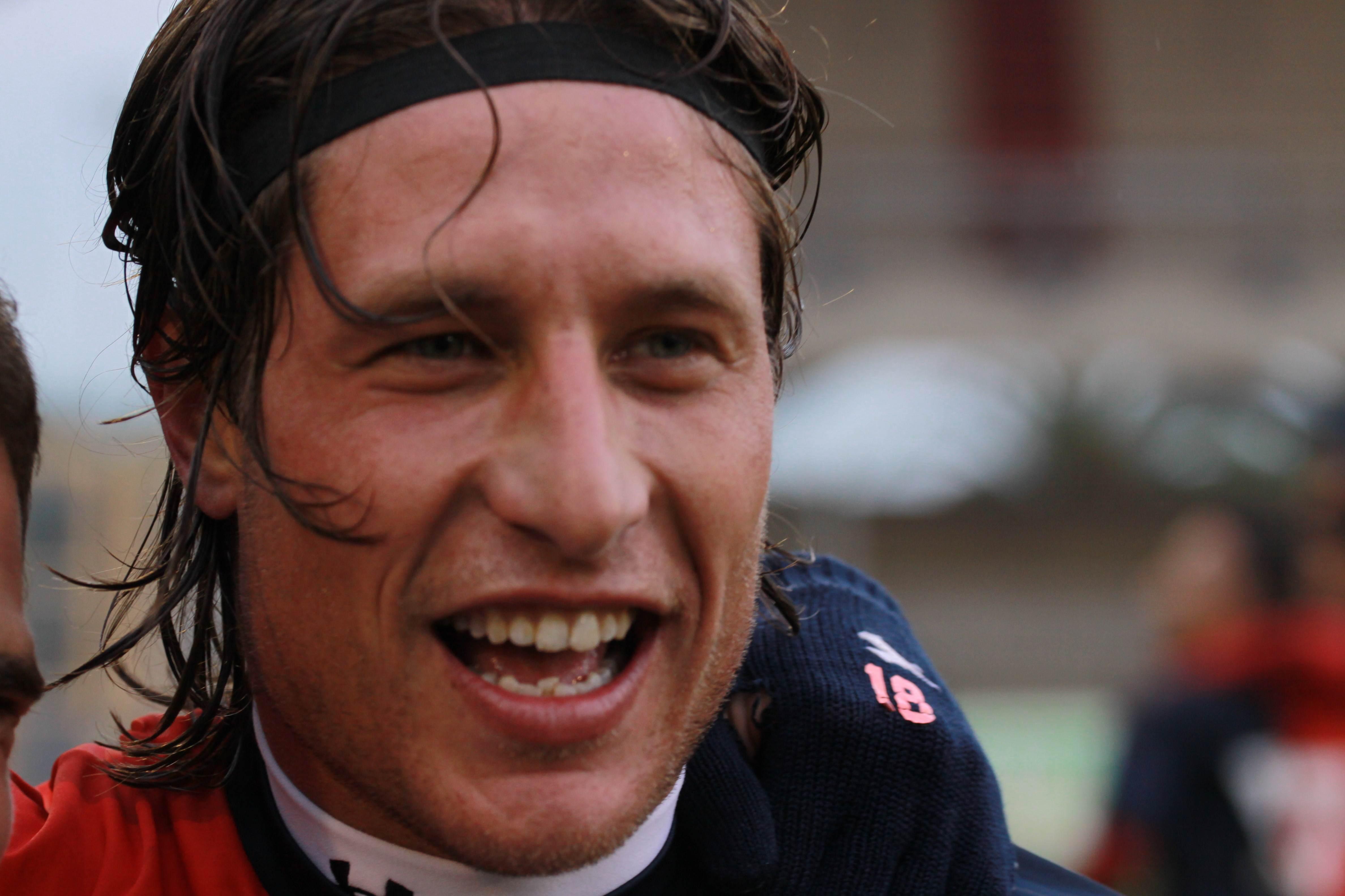 Samb-San Cesareo foto Bianchini, Marini sorride dopo il gol