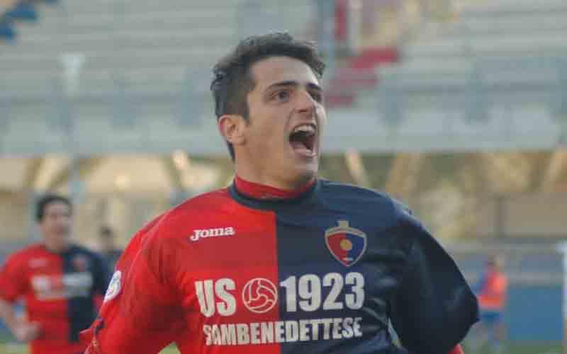 Samb-San Nicolò, esultanza di Carpani dopo il terzo gol (giammusso)