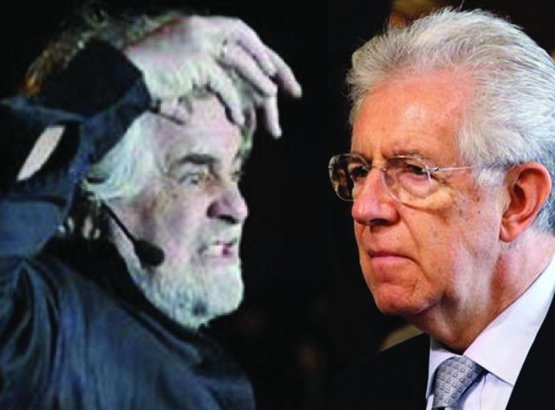 Beppe Grillo e Mario Monti. Da