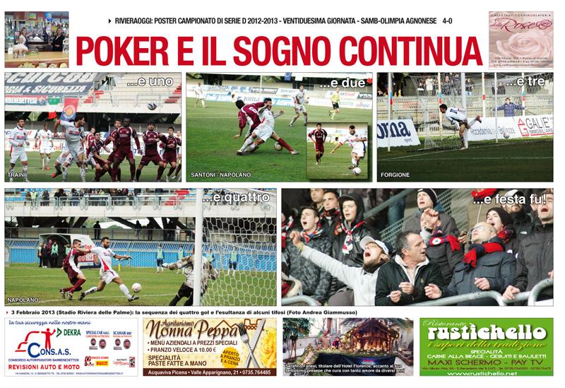 Poster Samb.Agnonese 4-0 per Riviera Oggi N. 948