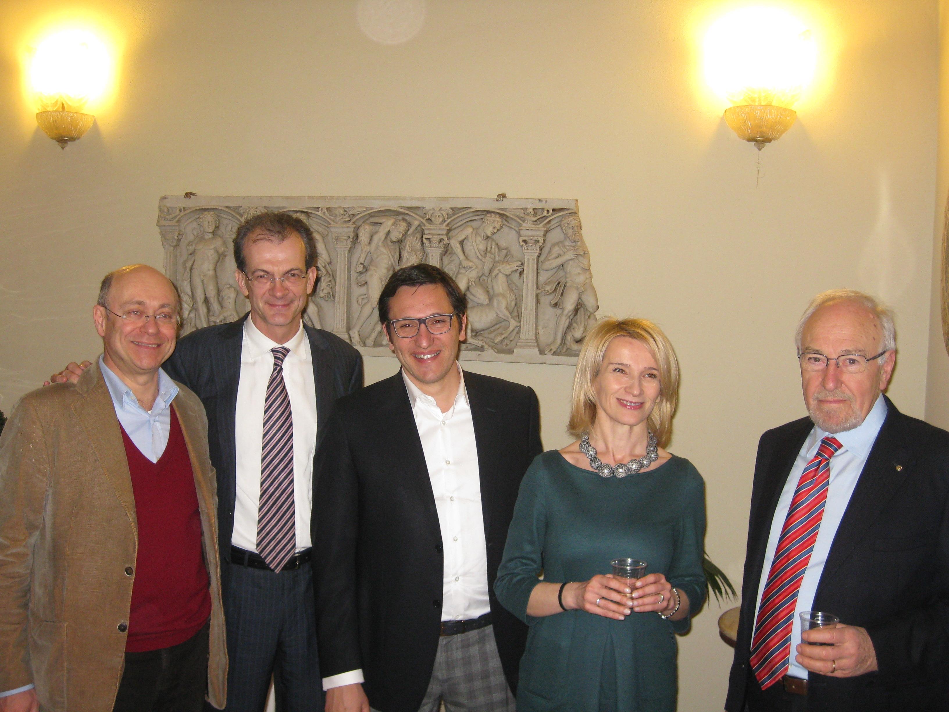 Da sinistra David Favia, Massimo Donati, Traiano Ruffo Campanelli, Paola Giorgi, Tiziano Campanelli
