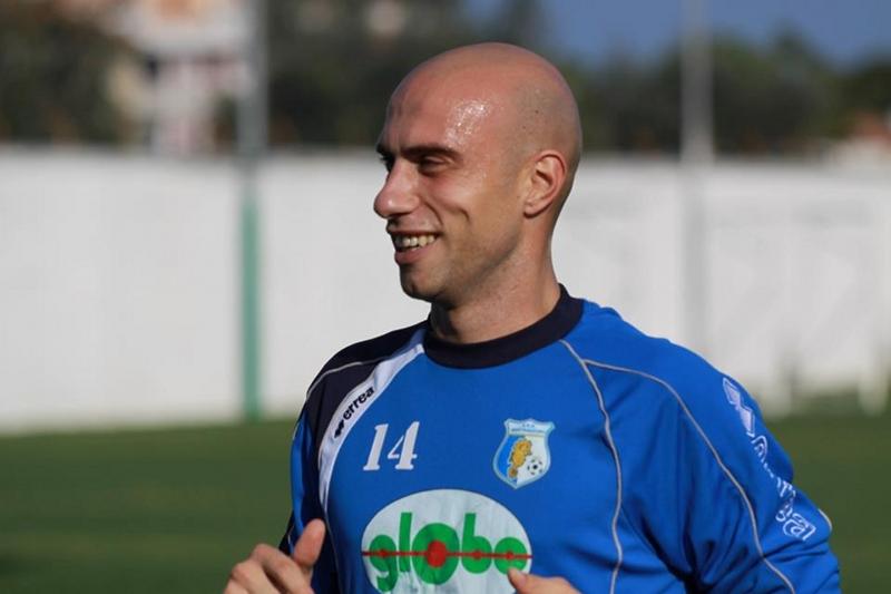 Il forte difensore biancuzzurro Roberto Cucco, oggi in gol