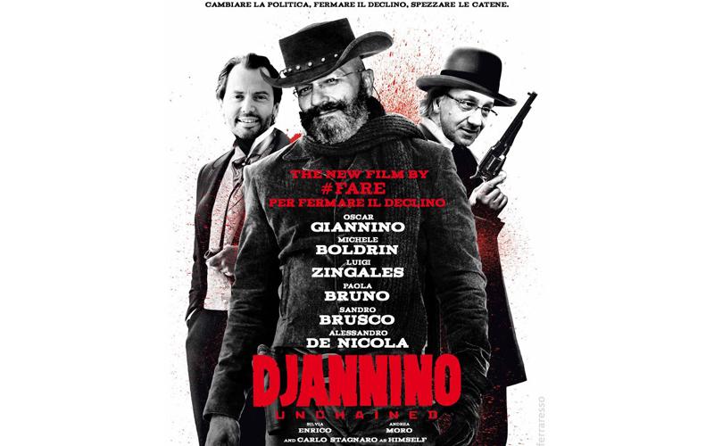 Giannino nei panni di Djannino, tratto da Django, l'eroe del film omonimo di Tarantino, con alle spalle Zingales e Boldrin