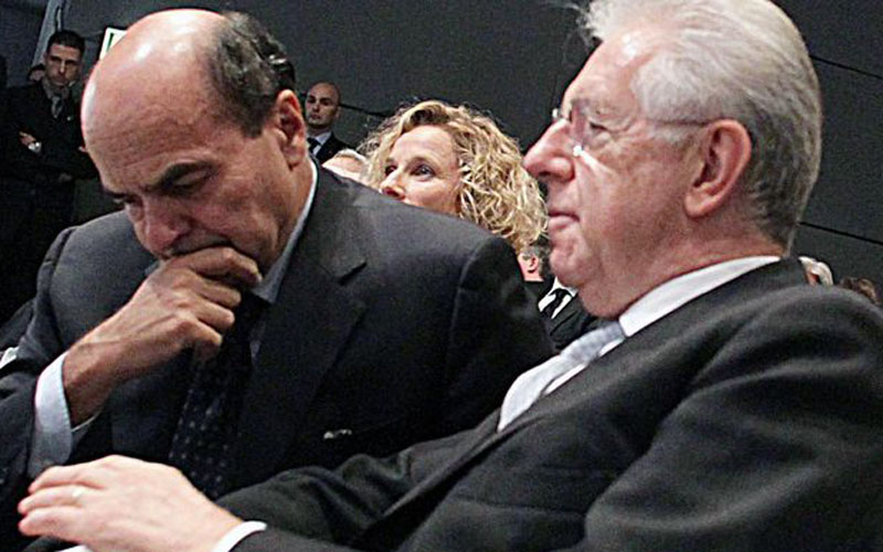 Pierluigi Bersani e Mario Monti (skytg24)