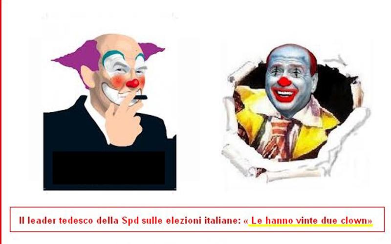 Una simpatica caricatura di alcuni attivisti del Movimento 5 Stelle, per loro i clown sono Bersani e Berlusconi