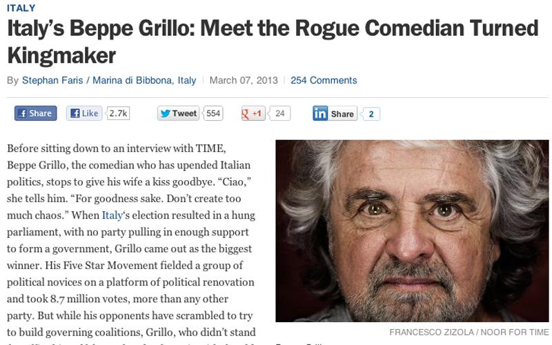 Beppe Grillo intervistato dal Time
