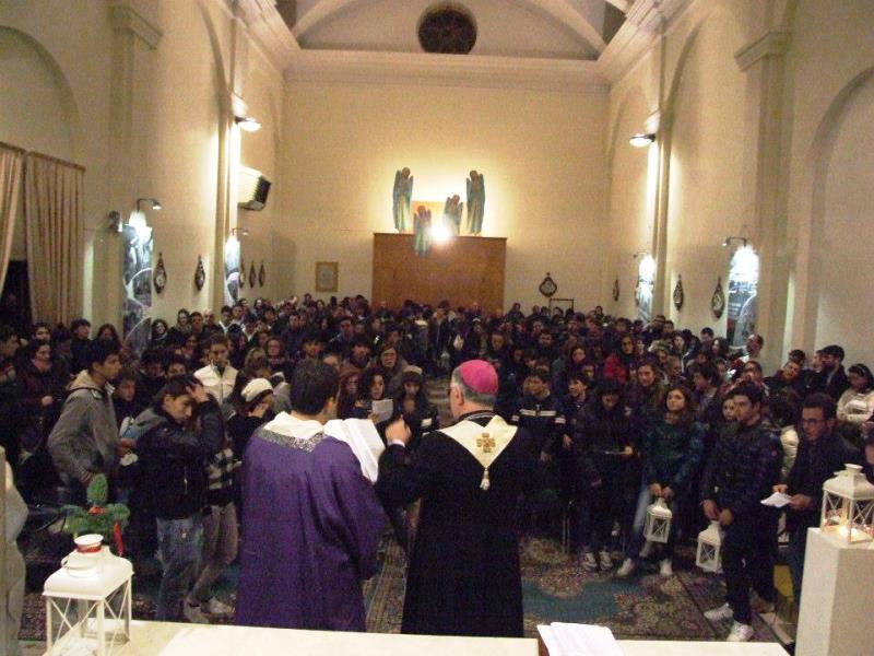 I giovani con il Vescovo Gestori a Ripatransone