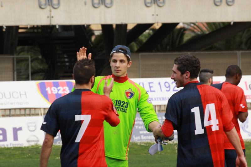 Samb-Celano (3-0), Barbetta e Napolano. Foto Bianchini