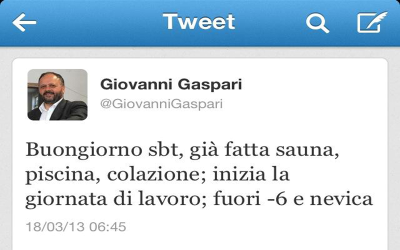Il primo tweet di Gaspari dalla Fiera Mitt di Mosca