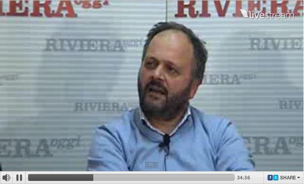 Il sindaco Gaspari durante YouRiviera, trasmissione in diretta video, 16 aprile 2011