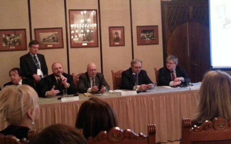 La delegazione a Mosca con il sindaco Gaspari e Gian Mario Spacca