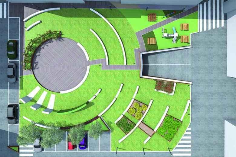 Rendering della Nuova Piazza Carducci per Filippo Olivieri