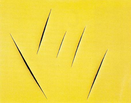 Una tela con cinque tagli di Lucio Fontana