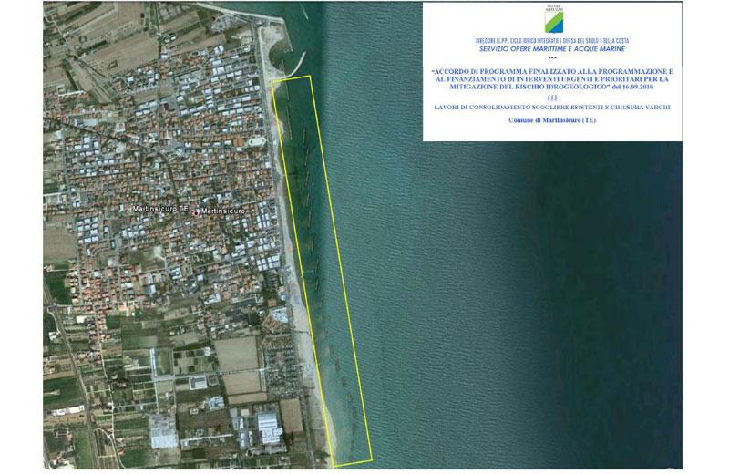 L'area interessata dai lavori antierosione a Martinsicuro
