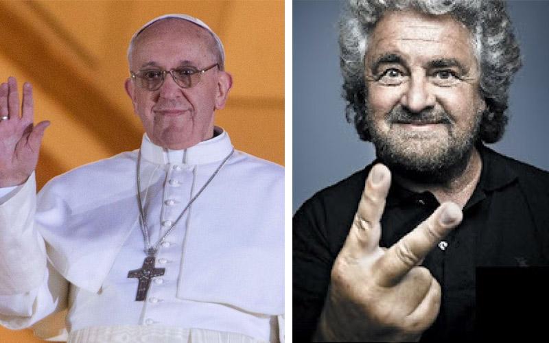 Papa Francesco e Peppe Grillo