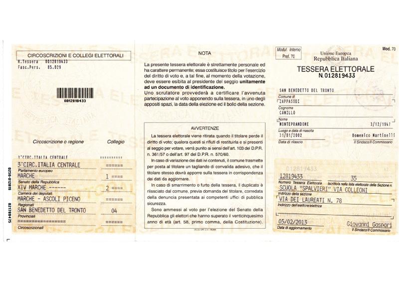 La copia della scheda elettorale consegnata a Zappasodi dagli uffici comunali