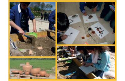 Studenti al lavoro nel parco archeologico di Ripoli