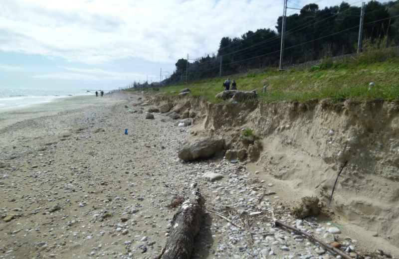 Erosione spiaggia a nord di Grottammare