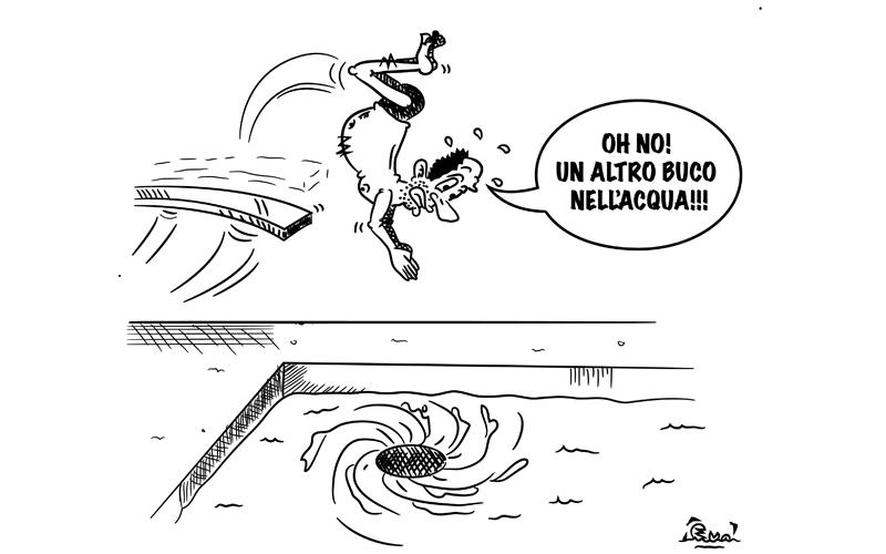 Gaspari si tuffa nella piscina in una vignetta di Evo.jpg