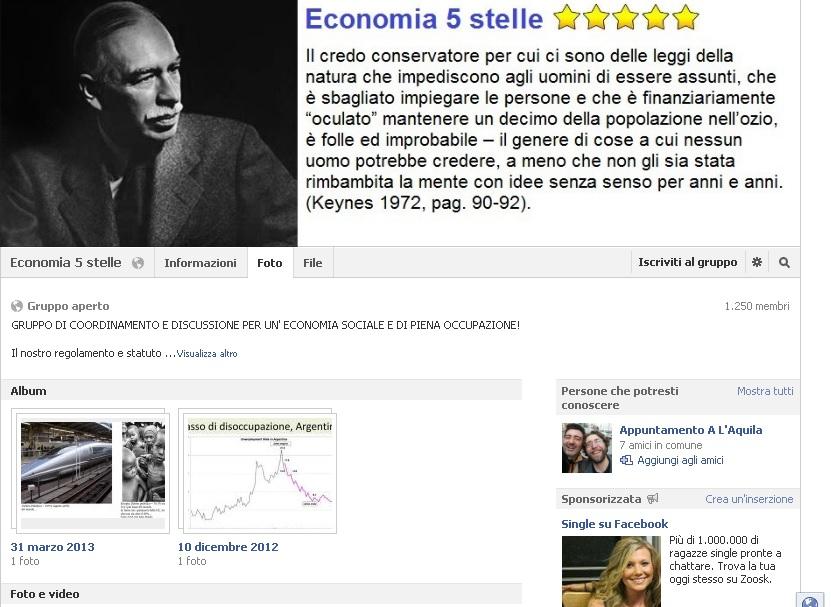 La pagina Facebook di Economia 5 Stelle