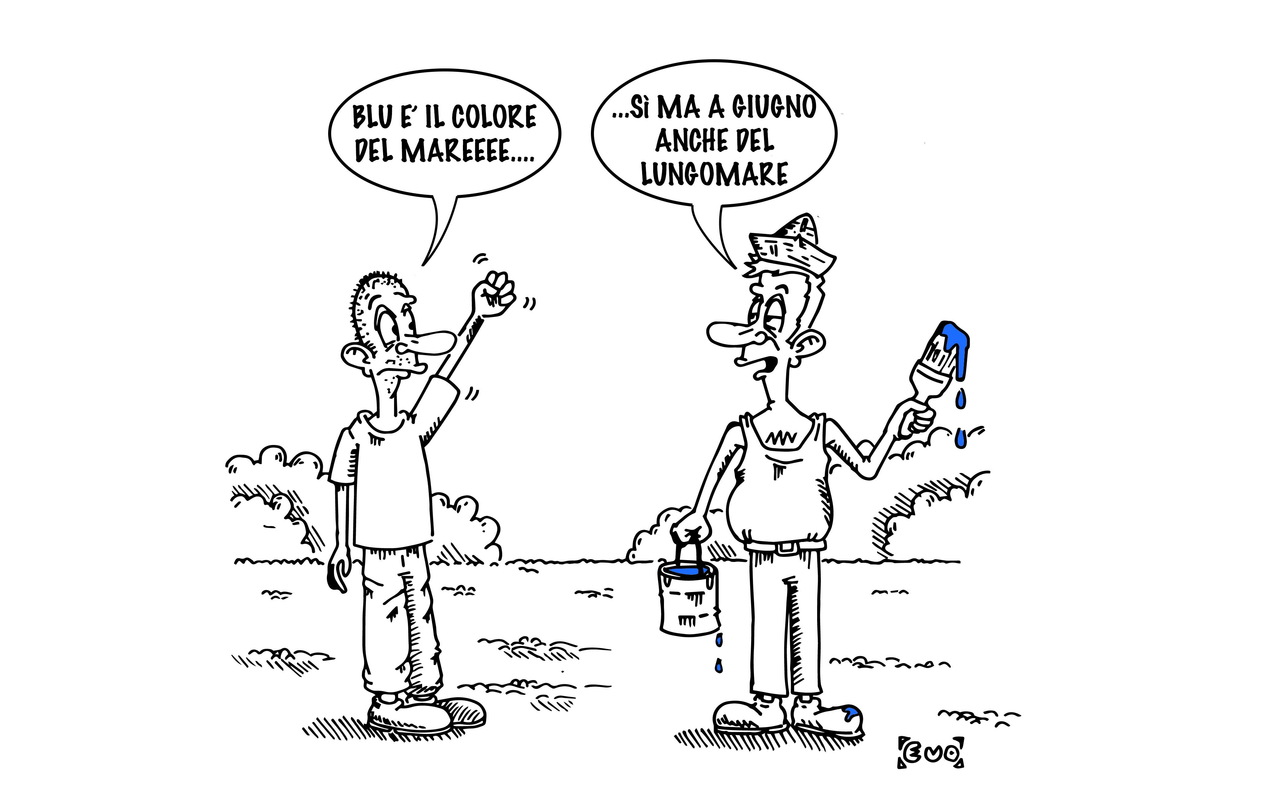 Parcheggi blu sul lungomare, vignetta di Evo