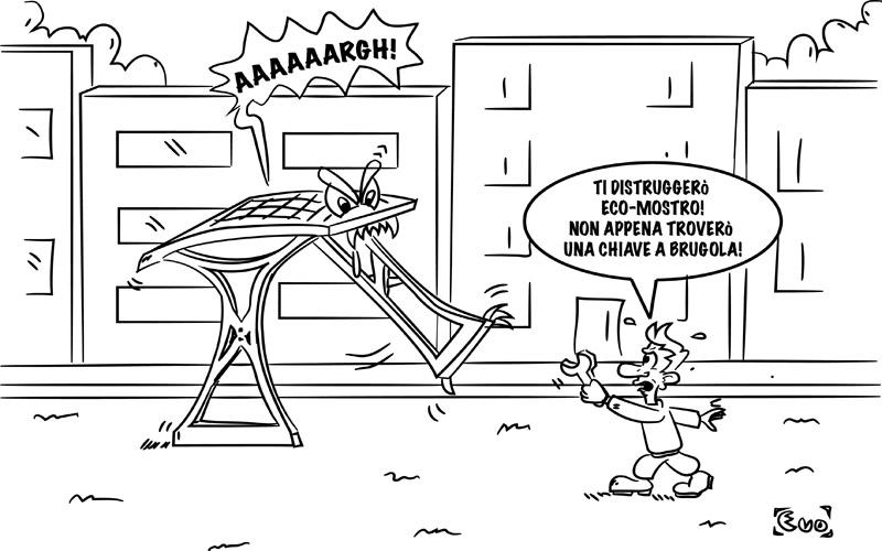 Pensiline contro le chiavi inglesi di Pgc (vignetta di Evo)