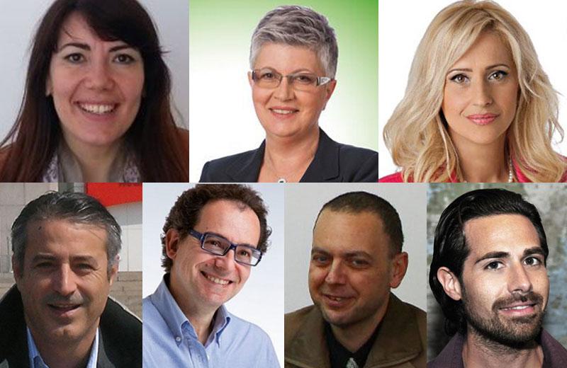 I candidati sindaci Ilenia Ceci, Gabriella Cichetti, Tonia Piccioni, Nicolino Colonnelli, Luca Falò, Stefano Flajani, Luca L'Innocente