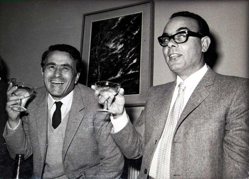 I presidenti di Ascoli e Samb negli anni settanta durante un brindisi