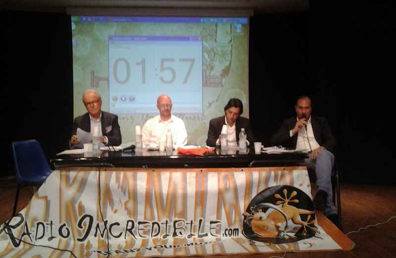 Grottammare, confronto pubblico tra i candidati sindaco. Da sinistra: Sandro Mariani, Andrea Criella, Enrico Piergallini, Filippo Olivieri