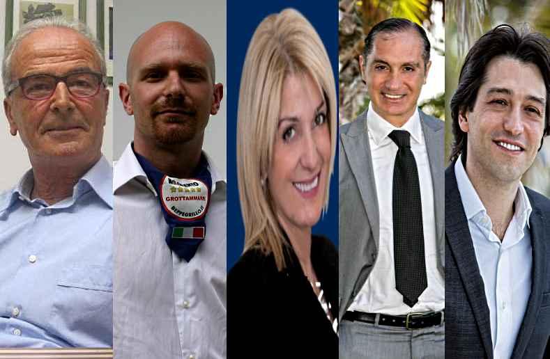 I 5 candidati sindaco per l'Elezioni Comunali di Grottammare 2013. Sandro Mariani, Andrea Crimella, Maria Grazia Concetti, Filippo Olivieri e Enrico Piergalini,