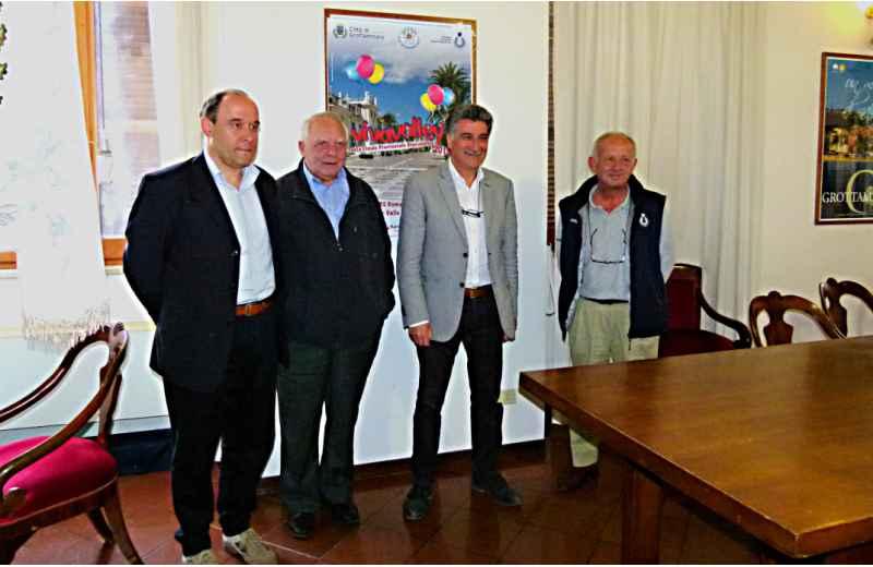 Presentazione di Vivavoley. Da sinistra Flavio Patrizi, Giulio Frabboni, Luigi Merli e Sergio Torquati