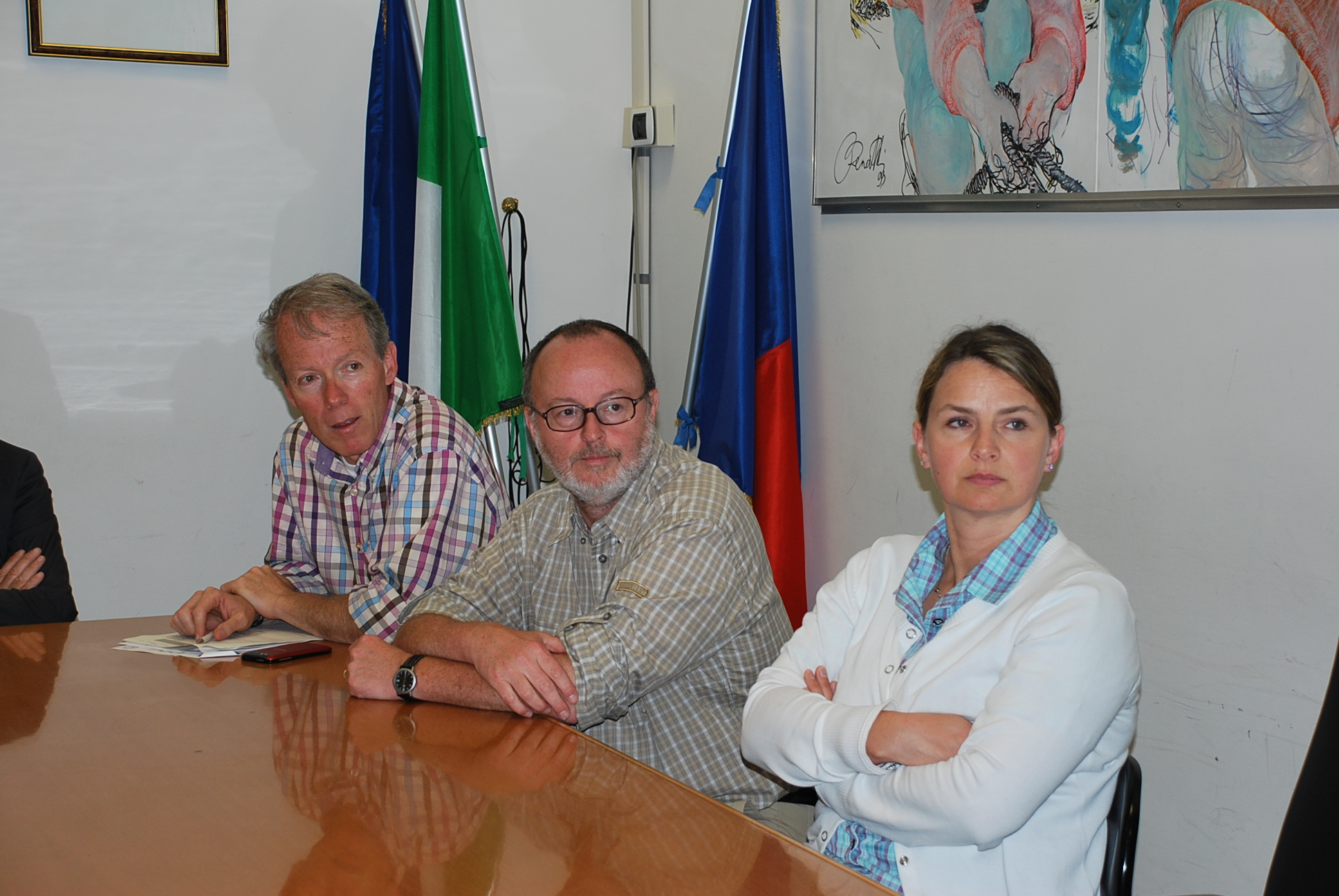 I tre funzionari europei Sandro Angiolini, Thomas Foersch e Els De Roeck
