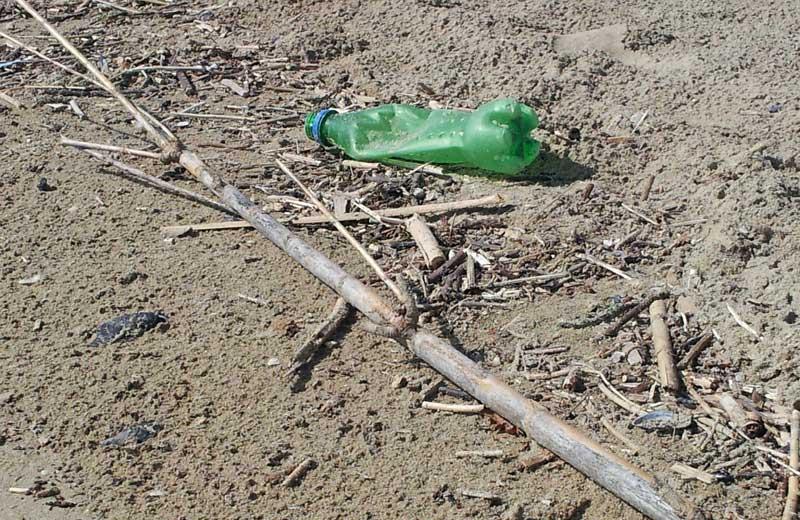 Detriti e rifiuti sulla spiaggia di Martinsicuro