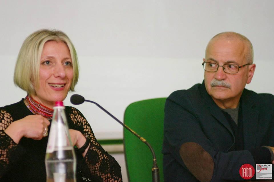 l'artista Rita Soccio e il presidente di Marche Centro d'Arte Lino Rosetti