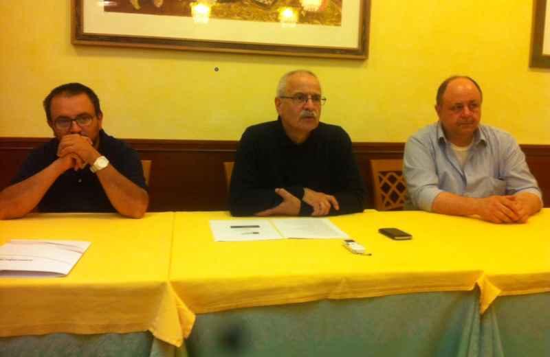 Marche Centro d'Arte. Da sinistra Dario Ciferri, Lino Rosetti e Franco Marconi