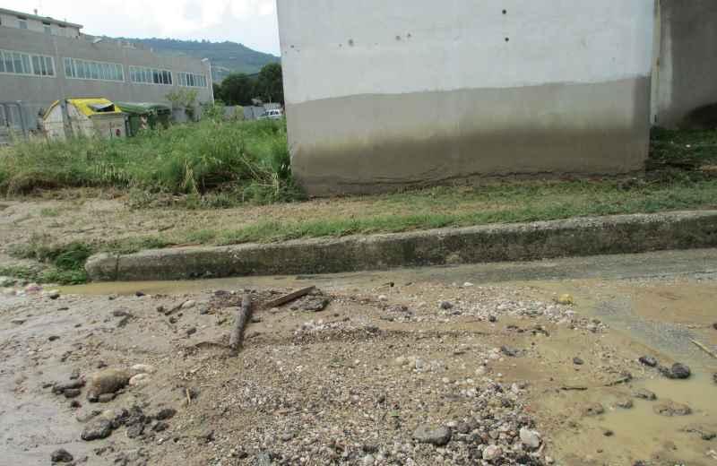 Sul muro si vede il livello che ha raggiunto l'acqua nel vivaio danneggiato
